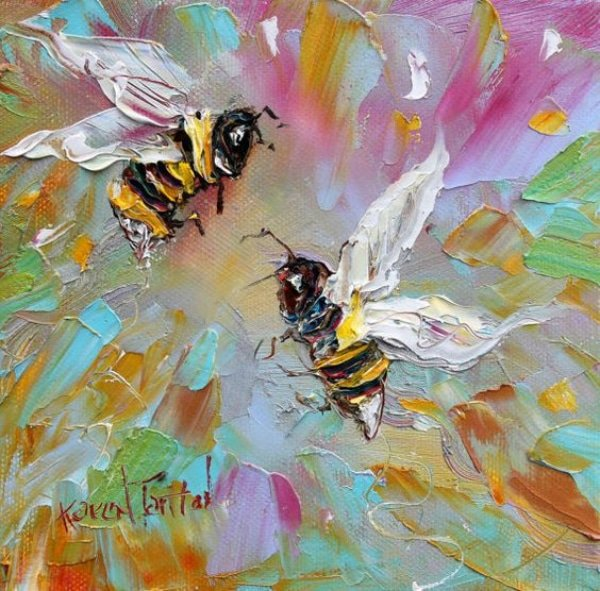 Palette Knife Paintings of bees