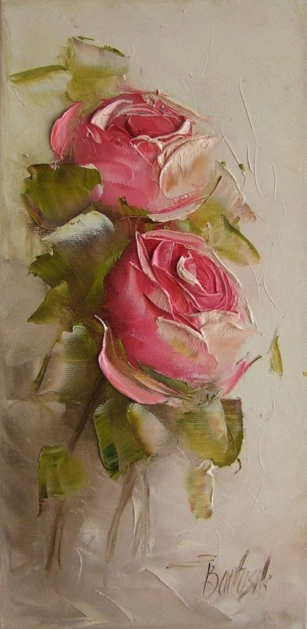Palette Knife Paintings roses